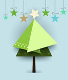 Abstract paper cut green pine tree christmas Stock Photography