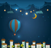 Abstract paper cut-Hot air balloon ,cloud,sky and moon with stars at night .Blank space for your design Royalty Free Stock Photography