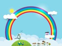 Abstract paper cut, sky, rainbow Royalty Free Stock Photos