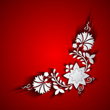 Abstract paper floral ornament. On red background Royalty Free Stock Image