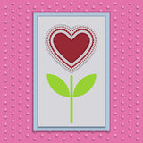 Abstract Paper Flower with Heart Stock Image
