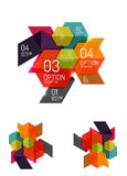 Abstract paper geometric infographic templates. For business background, presentation or message with options and buttons Stock Photo