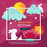 Abstract paper graphics concep for Mid Autumn festival. Chinese mid autumn festival design with rabbits, full moon and clouds. Abstract paper graphics concep for stock illustration
