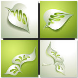Abstract paper green leaf. Abstract paper background with green leaf Royalty Free Stock Photos
