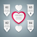 Abstract paper hearts Valentines day. Abstract 3D digital illust Royalty Free Stock Photo