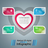Abstract paper hearts Valentines day. Abstract 3D digital. Infographic design template and marketing icons. Abstract 3DInfographic royalty free illustration