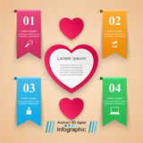 Abstract paper hearts Valentines day. Abstract 3D digital  Stock Images