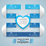 Abstract paper hearts Valentines day. Abstract 3D. Infographic design template and marketing icons. Abstract 3DInfographic vector illustration