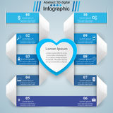 Abstract paper hearts Valentines day. Abstract 3D. Infographic design template and marketing icons. Abstract 3DInfographic royalty free illustration