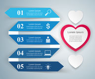 Abstract paper hearts Valentines day. Abstract 3D. Infographic design template and marketing icons. Abstract 3DInfographic stock illustration