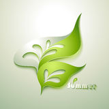 Abstract paper leaf. With green elements Royalty Free Stock Photography