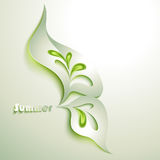 Abstract paper leaf. With green elements Stock Photo