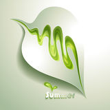Abstract paper leaf. With green elements vector illustration