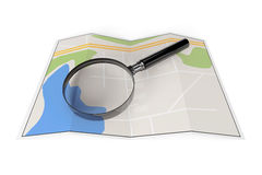 Abstract Paper Map with Magnifying Glass Stock Images