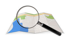 Abstract Paper Map with Magnifying Glass Royalty Free Stock Image