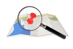 Abstract Paper Map with Magnifying Glass Stock Photo