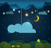 Abstract paper-moon with stars-cloud and sky at night.Blank cloud design element with place for your text Stock Photo