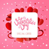 Abstract paper origami valentines special offer banner. Vector p Stock Photo