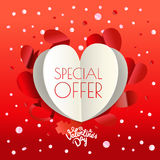 Abstract paper origami valentines special offer banner. Vector p Stock Images