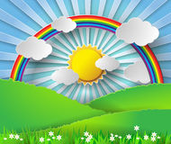 Abstract paper rainbow and sunshine. Vector illustration. Royalty Free Stock Images