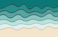 Abstract paper sea background. 3d effect waves poster. stock illustration