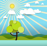 Abstract paper spring card with sunshine- cloud and tree Royalty Free Stock Photos