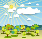 Abstract paper spring card with sunshine- cloud and tree Stock Photo
