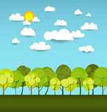 Abstract Paper Spring Card With Sunshine- Cloud And Tree Royalty Free Stock Image