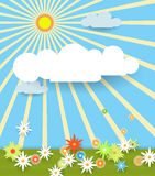 Abstract paper with sunshine- cloud and flowers Stock Images