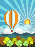 Abstract paper with sunshine- hill-cloud and balloon Royalty Free Stock Photos