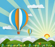 Abstract paper with sunshine- hill-cloud-balloon Royalty Free Stock Photo