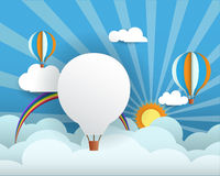 Abstract paper with sunshine- rainbow-blank balloon for your tex Stock Photo