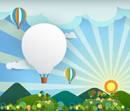 Abstract paper with sunshine- rainbow-hill-cloud- balloon Stock Photo