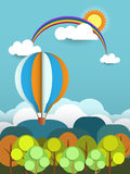 Abstract paper with sunshine- rainbow-hill-cloud and balloon Stock Photo