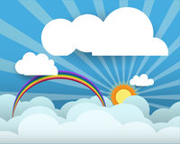 Abstract paper  with sunshine- rainbow-White cloud for your text Royalty Free Stock Photos