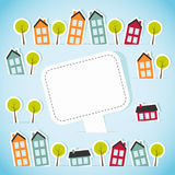 Abstract paper town with banner Royalty Free Stock Image