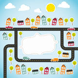 Abstract paper town with banner Royalty Free Stock Photo