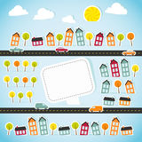 Abstract paper town with banner Stock Image