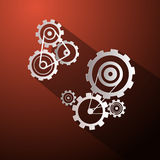 Abstract Paper Vector Cogs - Gears. On Red Background Stock Photos