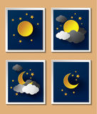 Abstract paper weather with moon at nightfall. Royalty Free Stock Images