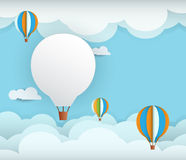 Abstract paper with white cloud and balloon Royalty Free Stock Photo