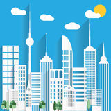 Abstract Paper White Skyscrapers. Vector Illustration Royalty Free Stock Images