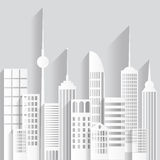 Abstract paper white skyscrapers on white background. Vector Illustration. Abstract white paper skyscrapers on white background. Vector Illustration stock illustration