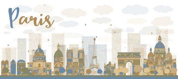 Abstract Paris skyline with color landmarks Royalty Free Stock Photography