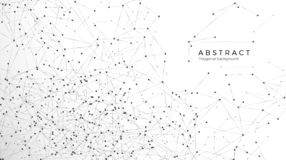 Abstract particle background. Mess network. Atomic and molecular pattern. Nodes connected in web. Futuristic plexus array big data stock illustration