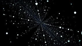 Abstract particle fail in the dark. Random small particles form horizontal abstract lines. Infinite space background. Matrix of glowing stars with illusion of royalty free illustration