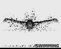 Abstract Particle Male Swimmer. Abstract Vector Illustration of a Swimmer / swimming man / male composed of round shape particles conveying motion vector illustration