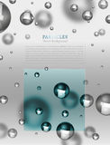 Abstract particles background. Abstract molecules graphic design. Beautiful vector illustration with glossy volumetric particles in blue and silver colours Royalty Free Stock Photography