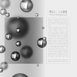 Abstract particles background. Abstract molecules graphic design. Beautiful vector illustration with glossy volumetric particles in silver colours. Atomic Royalty Free Stock Images