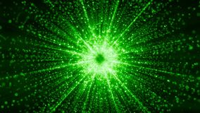 Abstract particles gathering in the center of virtual space. A bright light tunnel of particles. Looped. Abstract space with particles gathering in the center. A stock video